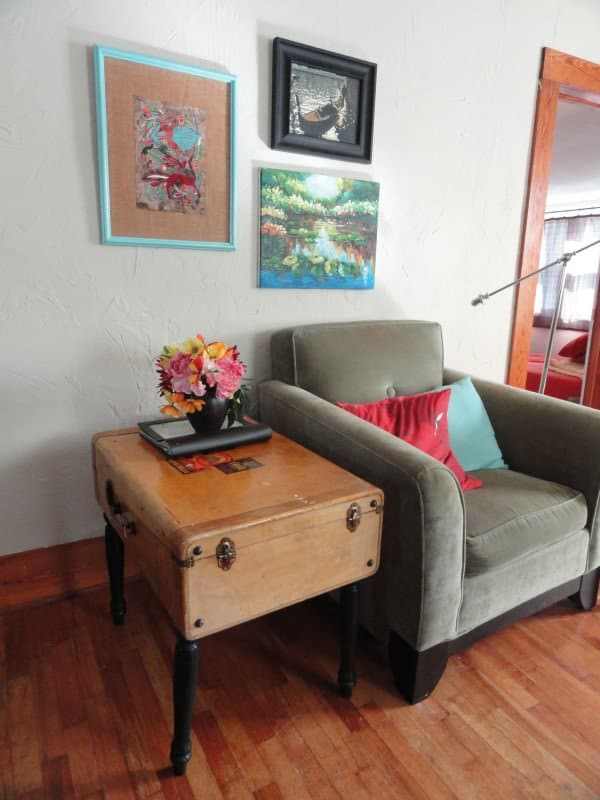 Upcycled Vintage Suitcase Into Side Table 1 • Recycled Furniture