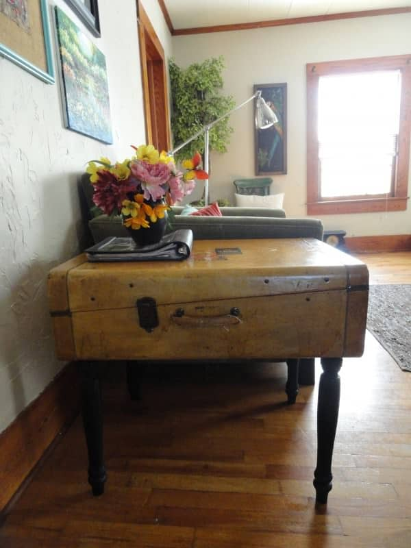 Upcycled Vintage Suitcase Into Side Table 2 • Recycled Furniture