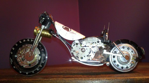 Tissot Watch Upcycled Into Miniature Harley 1 • Recycled Art