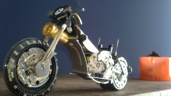 Tissot Watch Upcycled Into Miniature Harley 3 • Recycled Art