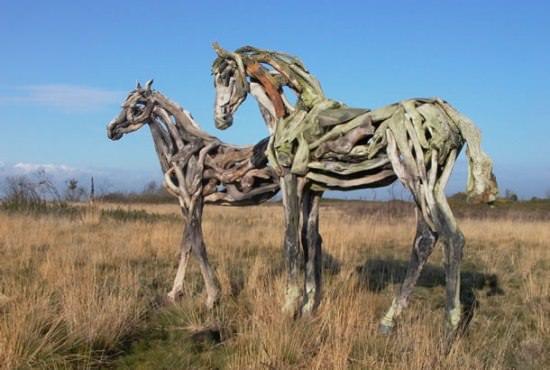 Driftwood Horse Sculptures 4 • Recycled Art