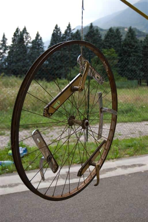 clothes hanger bicycle wheel