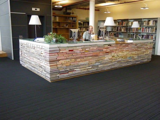 Library Information Desk Out of Recycled Books 1 • Interactive, Happening & Street Art
