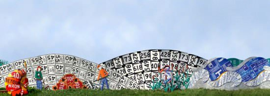 Read Between The Signs: Fences Made Out Of Discarded Road Signs 6 • Interactive, Happening & Street Art