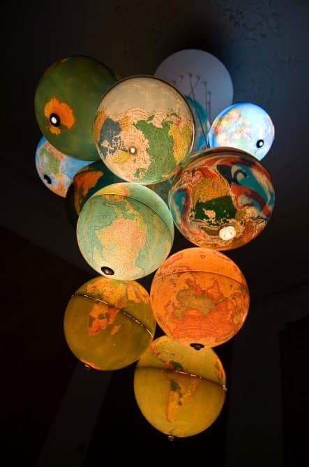 World Inside Out: A Chandelier Made Out Of Recycled World Globes 3 • Lamps & Lights