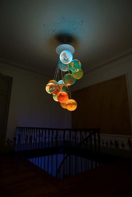 World Inside Out: A Chandelier Made Out Of Recycled World Globes 4 • Lamps & Lights