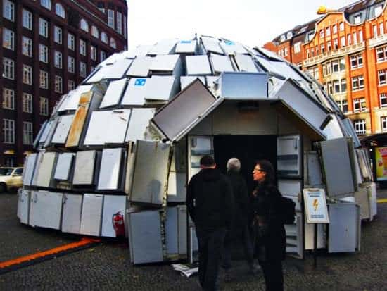 Igloo Made Out Of 322 Discarded Fridges 1 • Interactive, Happening & Street Art