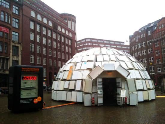 Igloo Made Out Of 322 Discarded Fridges 2 • Interactive, Happening & Street Art