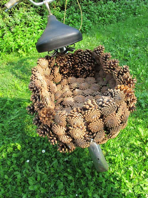 Pine Cone Bike Basket 1 • Upcycled Bicycle Parts