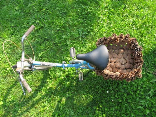 Pine Cone Bike Basket 3 • Upcycled Bicycle Parts