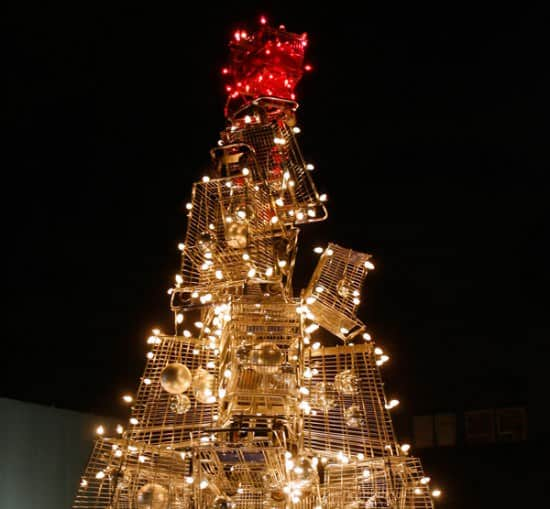 Christmas Tree From Upcycled Shopping Carts 2 • Interactive, Happening & Street Art