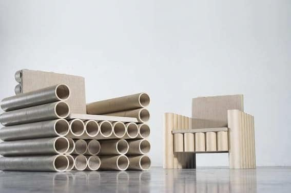 Repurposed Paper Tube Chair 2 • Recycled Cardboard