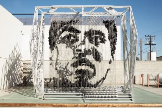 Muhammad Ali Portrait Made of 1300 Punching Bags 1 • Recycled Art