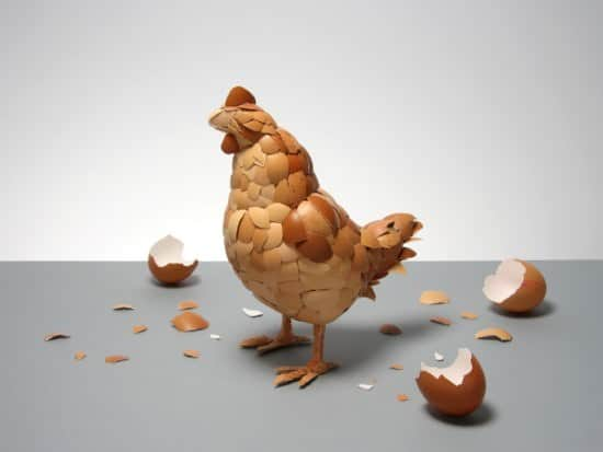 Eggshell Sculpture: What Came First ? 1 • Recycled Art