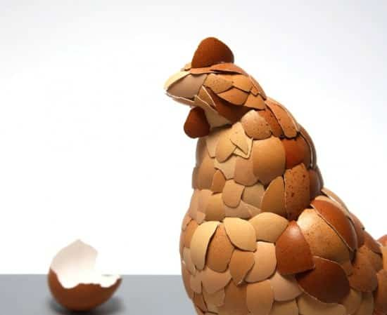 Eggshell Sculpture: What Came First ? 2 • Recycled Art