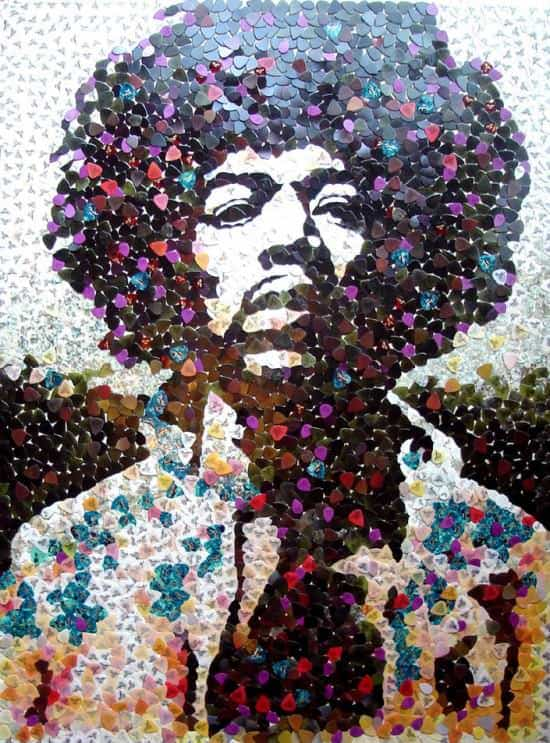 Hendrix Portrait with 5000 Guitar Picks 2 • Recycled Art