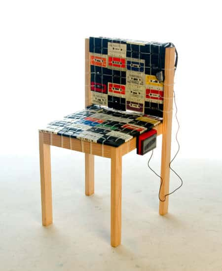 Cassette Tapes Chair 1 • Recycled Electronic Waste
