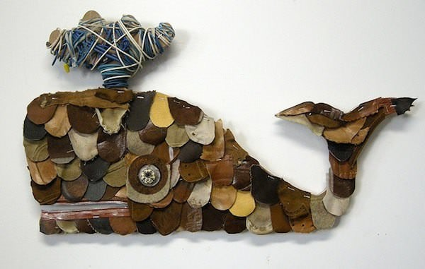 Leather Whales 1 • Recycled Art
