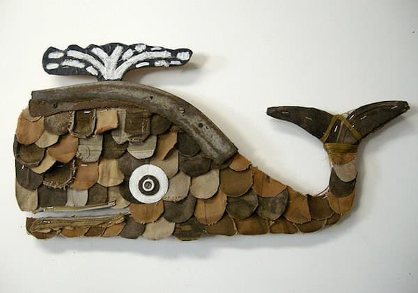 Leather Whales 2 • Recycled Art