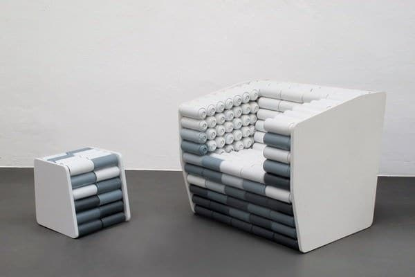 Spray Cans Armchair and Pouf 1 • Recycled Art