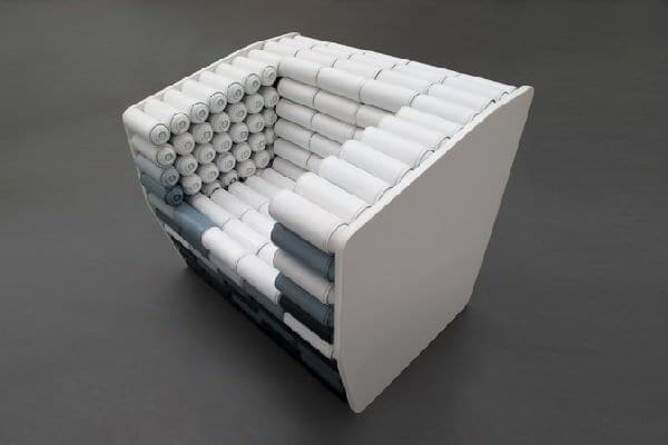Spray Cans Armchair and Pouf 2 • Recycled Art