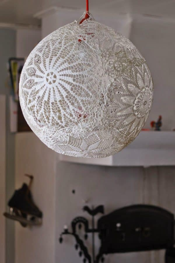 Diy: Doily Pendant Lamp with Lace 3 • Clothing