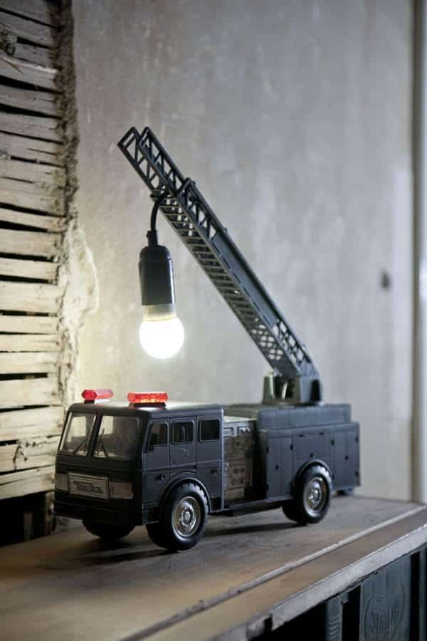 Upcycled Fire Truck Toy Into Original Lamp 1 • Lamps & Lights
