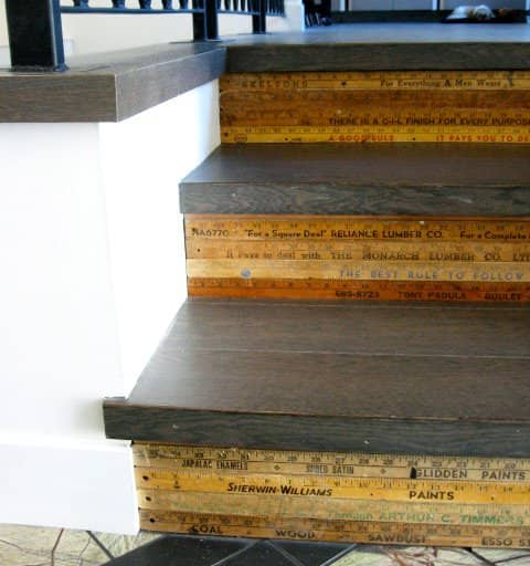Repurposed Wooden Rulers As Stair Decoration 1 • Home Improvement
