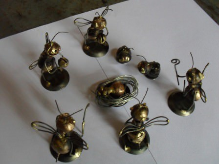 Recycled Bomb Shells Into Casing Bee Sculptures 2 • Recycled Art