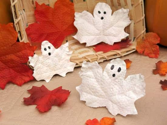 Halloween Craft Idea For Kids: Leaf Ghost 1 • Do-It-Yourself Ideas