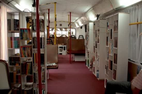 Bus Transformed Into Public Library 2 • Interactive, Happening & Street Art