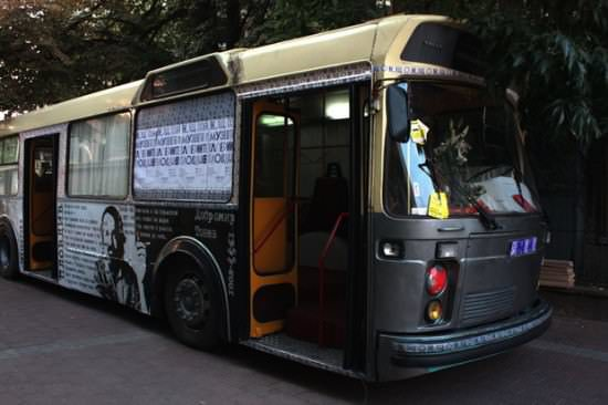 Bus Transformed Into Public Library 1 • Interactive, Happening & Street Art