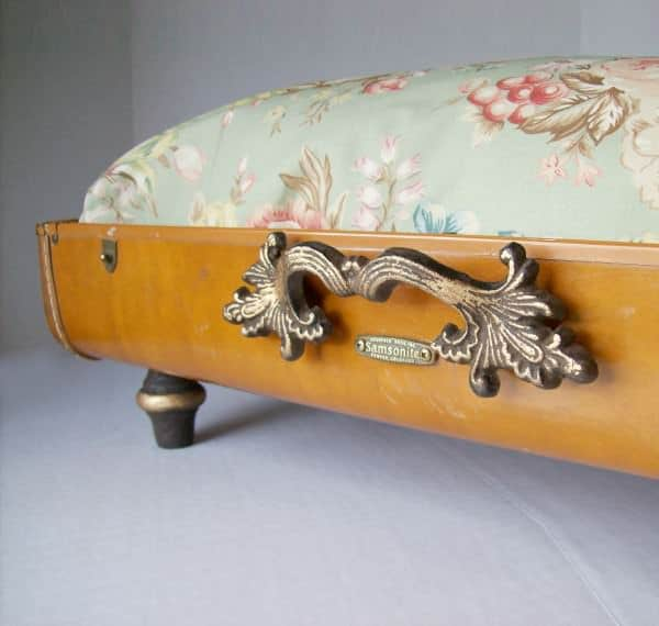 Recycled Vintage Suitcase Made into Unique Pet Bed 2 • Accessories