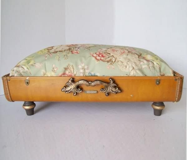 Recycled Vintage Suitcase Made into Unique Pet Bed 1 • Accessories
