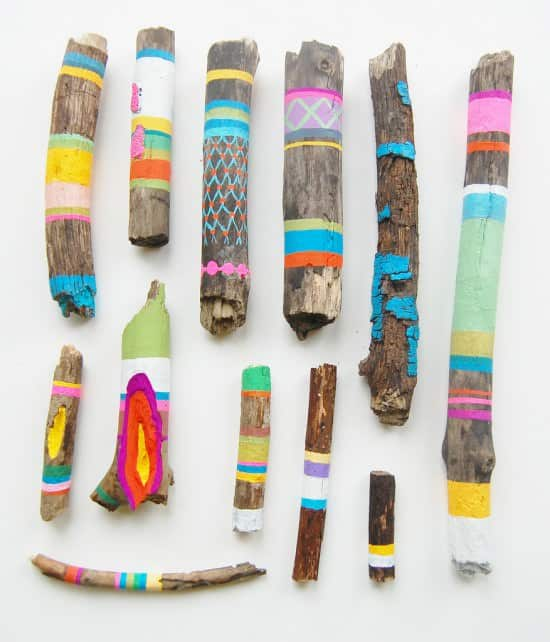 Painted Wooden Sticks 1 • Recycled Art