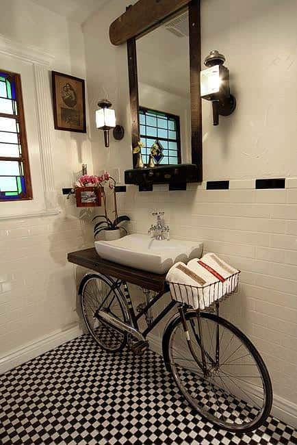 Bike in the Bathroom 1 • Upcycled Bicycle Parts