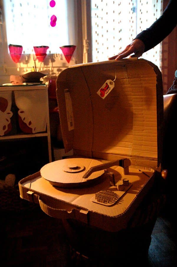 This turntable won't play records, but it sure looks like it could. Amazing Cardboard Sculptures