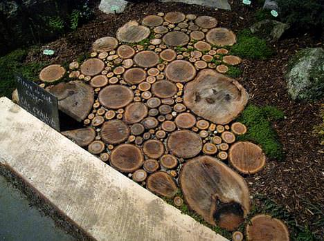Sliced Wood Into a Beautiful Garden Wood Path 1 • Do-It-Yourself Ideas