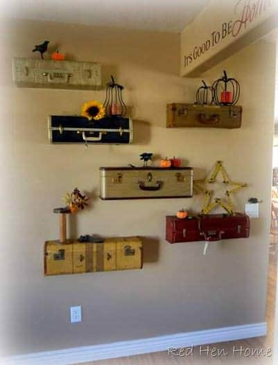 Upcycled Suitcases Into Shelves 2 • Do-It-Yourself Ideas