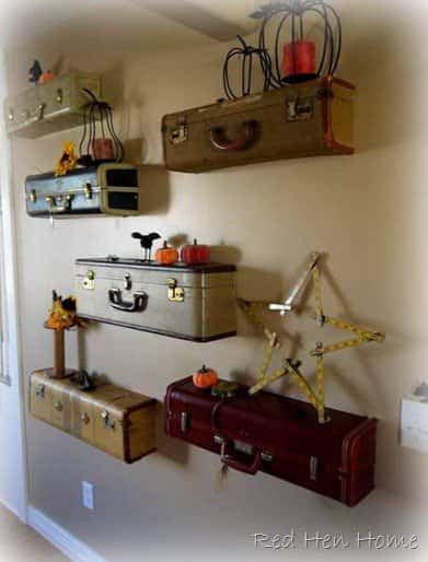 Upcycled Suitcases Into Shelves 1 • Do-It-Yourself Ideas