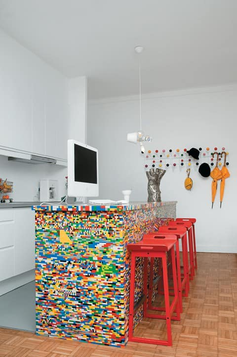 Kitchen Island Customized With 20,000 Lego Pieces 1 • Home Improvement