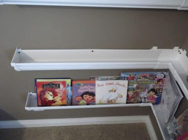 Rain Gutters as Bookshelves 2 • Do-It-Yourself Ideas