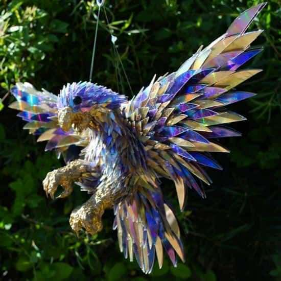 Sculptures from Shattered Cds 3 • Recycled Art