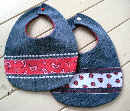 Reclaimed Blue Jeans Baby Bibs 1 • Accessories