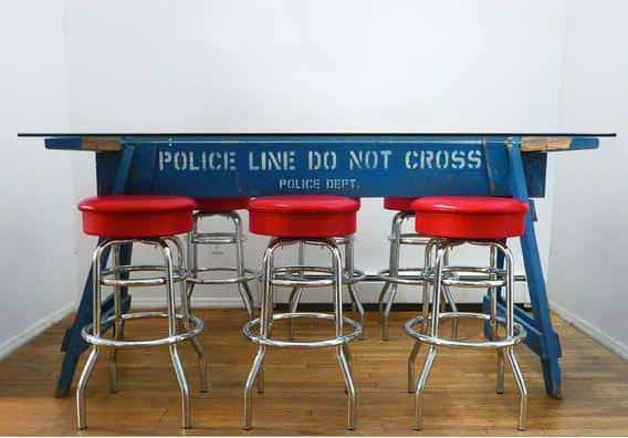 Police Line Do Not Cross Barrier Recycled Into Table 1 • Recycled Furniture