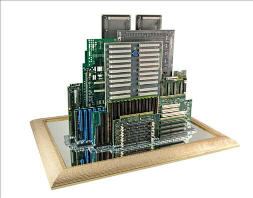 Computer Parts Skylines 1 • Recycled Art