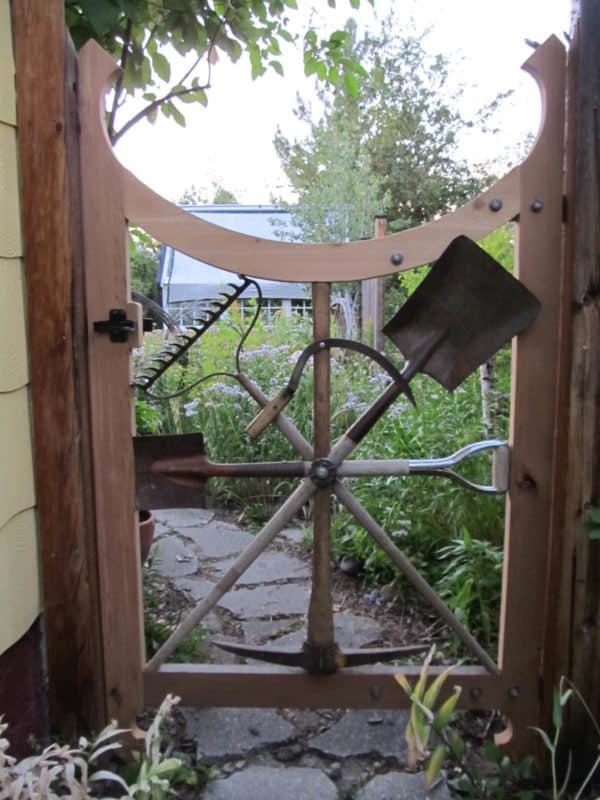 Garden Gate With Repurposed Garden Tools 1 • Garden Ideas