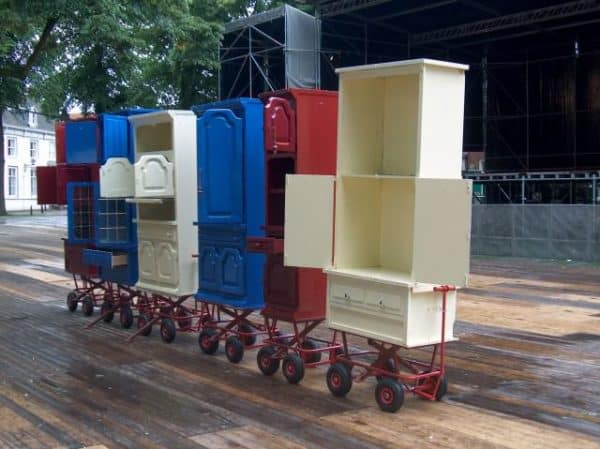 Mobile Merchandising Stands from Upcycled Cabinets 1 • Interactive, Happening & Street Art