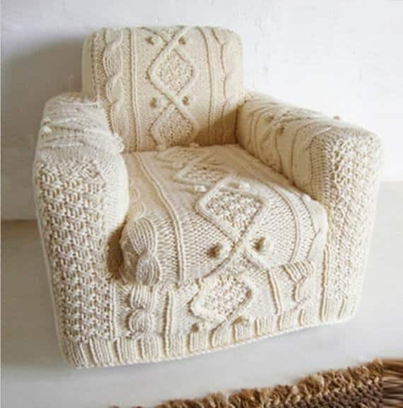 Diy: Hand Knitted Armchair Slipcover 1 • Clothing