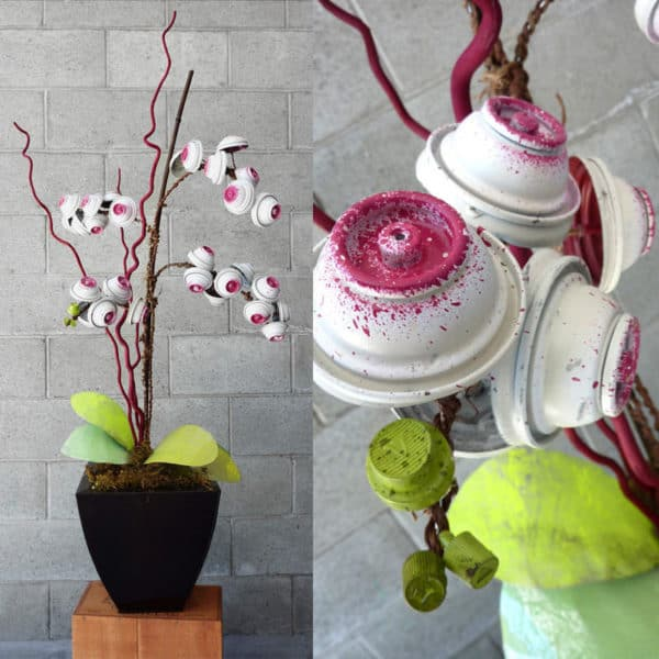Discarded Spray Can Bouquets and Orchids 3 • Recycled Art